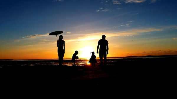 happy, family, sunset,